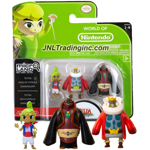 "Jakks Pacific Year 2015 World of Nintendo ""Zelda The Windwaker"" Series 3 Pack 1 Inch Tall Micro Land Mini Figure - TETRA, KING of HYRULE & GANONDORF"
