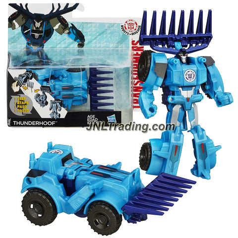 Hasbro Year 2014 Transformers Robots in Disguise Animation Series One Step Changer 5 Inch Tall Robot Figure - THUNDERHOOF (Vehicle: Excavator)