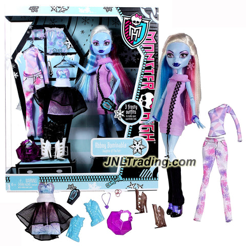Mattel Year 2011 Monster High Exclusive I Love Fashion Series 12 Inch Doll - Abbey Bominable Daughter of The Yeti with 3 Sets of Ghoulish Outfit, 3 Pairs of Shoes, Earrings, Necklace, Phone and Handbag