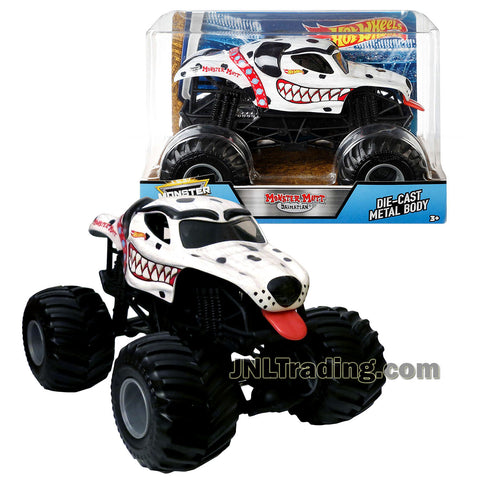 Hot Wheels Year 2017 Monster Jam 1:24 Scale Die Cast Metal Body Official Monster Truck Series - Monster Mutt DALMATIAN FMB57 with Monster Tires, Working Suspension and 4 Wheel Steering