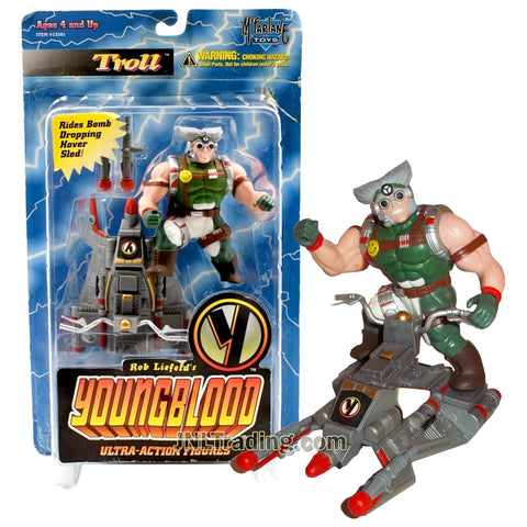 Year 1995 McFarlane Toys Rob Liefeld's Youngblood Series Ultra Class 4 Inch Tall Action Figure - TROLL with Missile Dropping Hover Sled