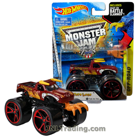 "Hot Wheels Year 2014 Monster Jam 1:64 Scale Die Cast Truck OFF-ROAD Series - Red EL TORO LOCO CFT61 with Track Ace Tires and Snap-On Battle Slammer (D: 3-1/2"" L x 2-1/4"" W x 2-1/2"" H)"