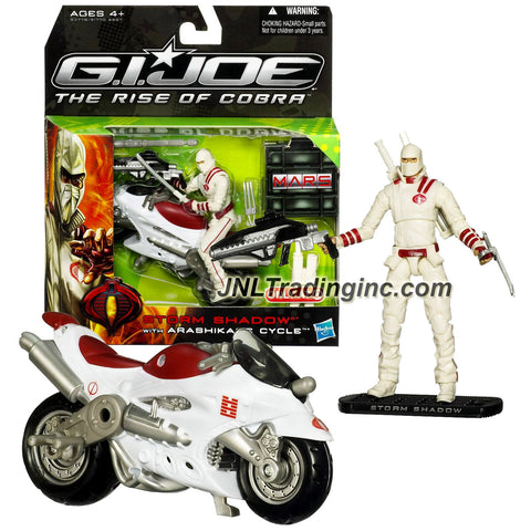 "Hasbro GI JOE Movie The Rise of Cobra Series 4"" Tall Figure with Vehicle Set - ARASHIKAGE CYCLE with STORM SHADOW Figure Plus Katanas, Rifle & Base"