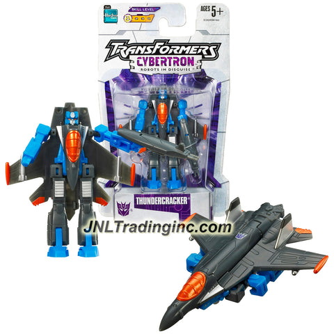Hasbro Year 2005 Transformers Cybertron Series Legends Class 3 Inch Tall Robot Action Figure - Hyperactive Decepticon Air Warrior and Daredevil THUNDERCRACKER (Vehicle Mode: Fighter Jet)