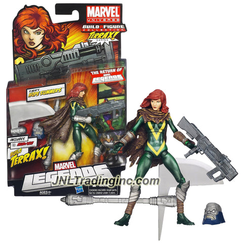 Hasbro Year 2011 Marvel Legends Build a Figure Terrax Series 6 Inch Tall Action Figure #2 : X-Men's HOPE SUMMERS with Assault Rifle and Terrax's Head and Axe