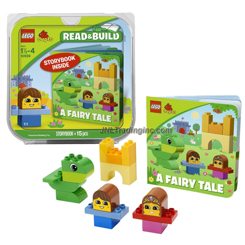 Lego Duplo Year 2013 Read and Build Series Set #10559 - A FAIRY TALE with Prince Jake, Princess Rose, Jed the Friendly Dragon and a Castle Tower Plus Storybook (Total Pieces: 15)