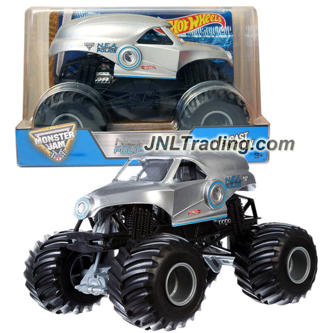Hot Wheels Year 2016 Monster Jam 1:24 Scale Die Cast Metal Body Official Truck - Silver NEA New Earth Authority N.E.A. POLICE (CGD64) with Monster Tires, Working Suspension and 4 Wheel Steering