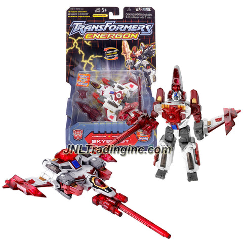 Hasbro Year 2003 Transformers Energon Series Omnicon Class 4 Inch Tall Robot Action Figure - Autobot SKYBLAST with Blaster, Spearhead and Energon Star (Vehicle Mode: Fighter Jet)