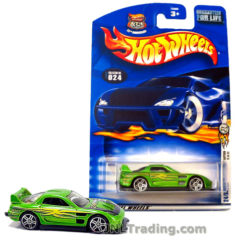 Hot Wheels Year 2002 First Editions Series 1:64 Scale Die Cast Car Set #12 - Green Color Sports Coupe 24/SEVEN 56365