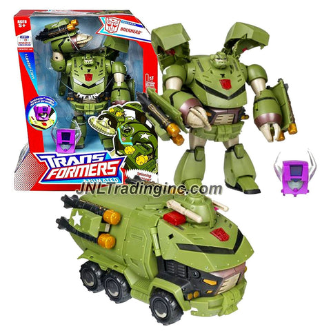 Hasbro Year 2008 Transformers Animated Series Leader Class 8 Inch Tall Robot Action Figure with Electronic Lights and Sounds - BULKHEAD with Spinning Buzzsaw, Removable Air Torpedoes, and Headmaster Helmet (Vehicle Mode: Armored Truck)