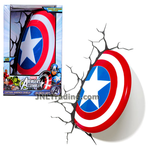 3DLightFX Marvel Avengers Assemble Series Battery Operated 10 Inch Tall 3D Deco Night Light - CAPTAIN AMERICA SHIELD with Light Up LED Bulbs and Crack Sticker