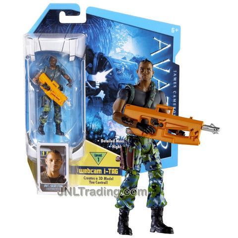 Mattel Year 2009 James Cameron's Avatar Movie Series 4 Inch Tall Highly Articulated Detailed Replica Action Figure - Pvt. Sean Fike with Rifle and Level 1 Webcam i-Tag