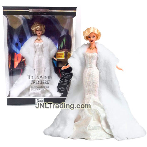 Mattel Year 2000 Barbie Hollywood Movie Star Collector Edition First in a Series 12 Inch Doll - HOLLYWOOD PREMIERE Marilyn Monroe in White Gown with Faux Fur Stole, Necklace and Earrings