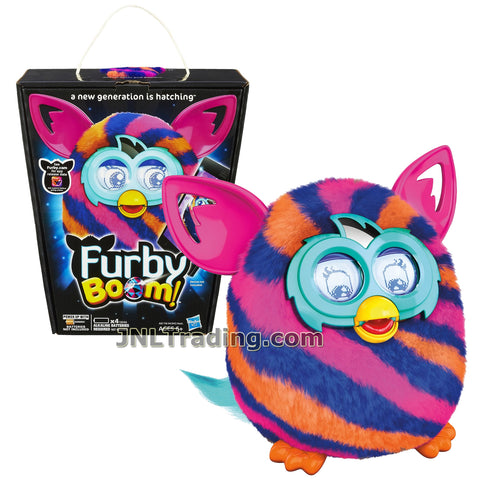 Furby Year 2013 Boom Series 5 Inch Tall Electronic App Plush Toy Figure - Blue, Pink and Orange Diagonal Pattern FURBY