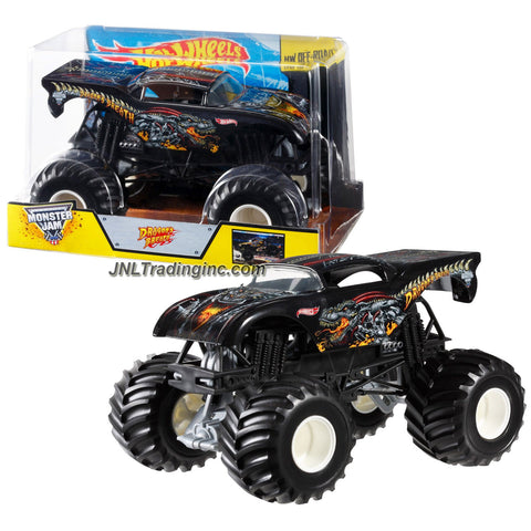 Hot Wheels Year 2014 Monster Jam 1:24 Scale Die Cast Official Monster Truck Series #CCB13 - DRAGON'S BREATH with Monster Tires, Working Suspension and 4 Wheel Steering (Dimension - 7 L x 5-1/2 W x 4-1/2 H)