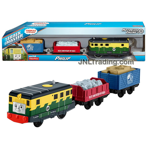 Fisher Price Year 2015 Thomas & Friends Trackmaster Series Motorized Railway 3 Pack Train Set - PHILIP with 2 Cargo Wagons Loaded with Stone and Boxes