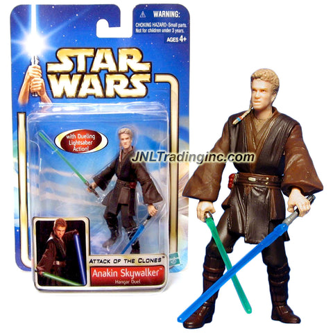 "Hasbro Year 2002 Star Wars Collection 1 ""Attack of the Clones"" Series 4 Inch Tall Action Figure #22 - Hangar Duel ANAKIN SKYWALKER with Green and Blue Lightsabers"