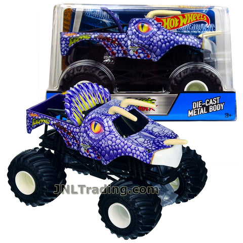 Hot Wheels Year 2017 Monster Jam 1:24 Scale Die Cast Metal Body Official  Truck - JURASSIC ATTACK DWN93 with Monster Tires, Working Suspension and 4