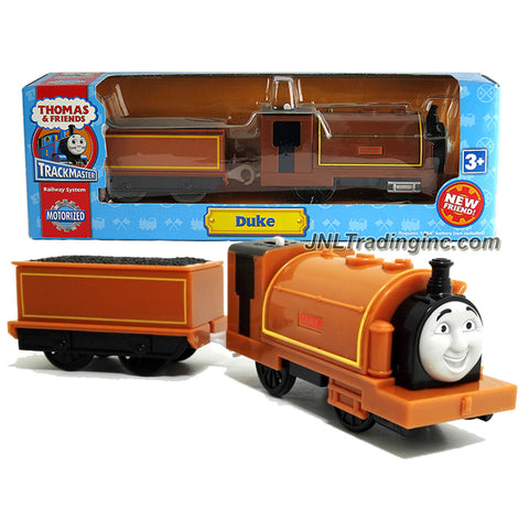 HiT Toy Year 2010 Thomas and Friends Trackmaster Motorized Railway Battery Powered Tank Engine 2 Pack Train Set - DUKE the Brown Gauge Tender Engine with Coal Loaded Car