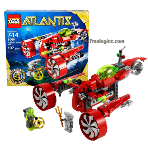 Lego Year 2009 Atlantis Series Vehicle Set # 8060 - TYPHOON TURBO SUB with Key Grabbing Claw, Torpedo Shooter and Flick Fire Missiles Plus Yellow Atlantis Treasure Key, Shark Warrior and Heroic Diver Minifigures (Total Pieces: 197)