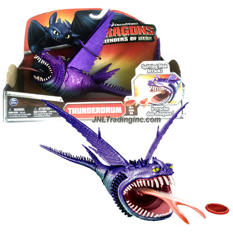"Spin Master Year 2014 Dreamworks Movie Series ""DRAGONS - Defenders of Berk"" 13 Inch Long Dragon Figure - Purple THUNDERDRUM with Spitting Disc Attack and 3 Discs"