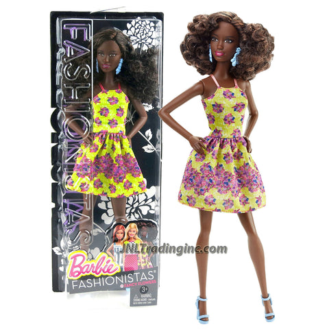 Mattel Year 2015 Barbie Fashionistas Series 12 Inch Doll - SHANI (DGY65) in Yellow Fancy Flower Dress with Earrings