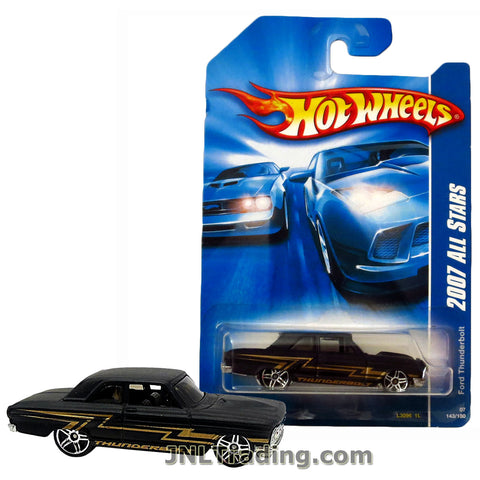 Hot Wheels Year 2007 All Stars Series 1:64 Scale Die Cast Car Set #143 - Black Color Drag Race Muscle Car FORD THUNDERBOLT L3096