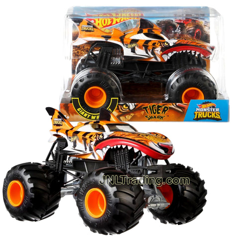 Hot Wheels Year 2018 Monster Jam 1:24 Scale Die Cast Metal Body Official Monster Truck Series - TIGER SHARK FYJ92 with Monster Tires, Working Suspension and 4 Wheel Steering