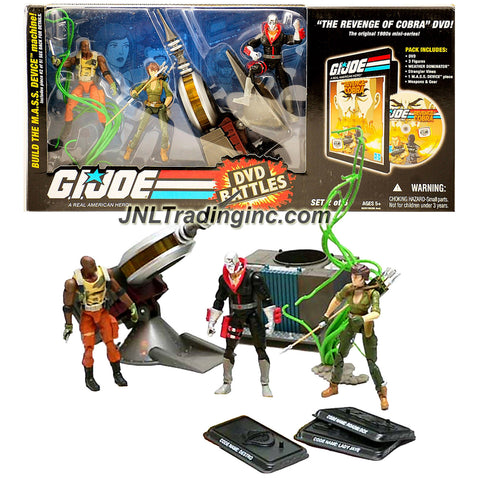 "Hasbro Year 2008 G.I. JOE ""A Real American Hero - Build the M.A.S.S. Device Machine Series"" 3 Pack 4 Inch Tall Action Figure Set - ROADBLOCK, LADY JAYE and DESTRO with Vines, Weather Dominator and Weapons Plus ""The Revenge of Cobra"" DVD and ""Generator"" Piece"