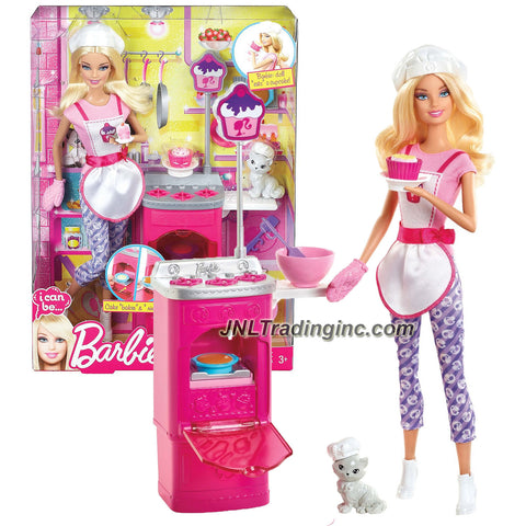 "Mattel Year 2012 Barbie ""I Can Be"" Series 12 Inch Doll Set - Barbie as DESSERT CHEF (Y7379) with Pet Persian Cat ""Blissa"", Stovetop with Open Door Oven, Mixing Bowl, Spatula, Cupcakes and Cakes"