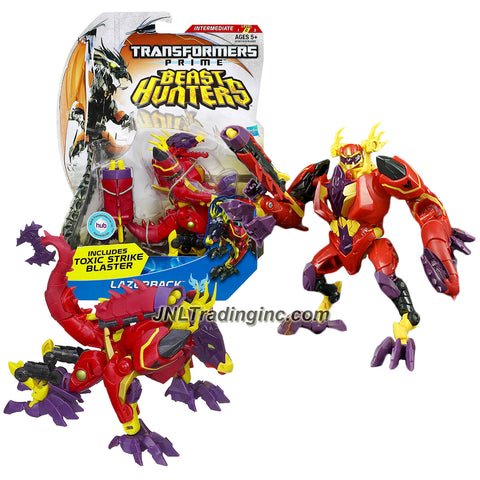 Transformer Year 2012 Prime Beast Hunters Series Deluxe Class 6 Inch Tall Figure - Predacon LAZERBACK with Whip Tail  and Strike Blaster (Beast Mode: Dragon)