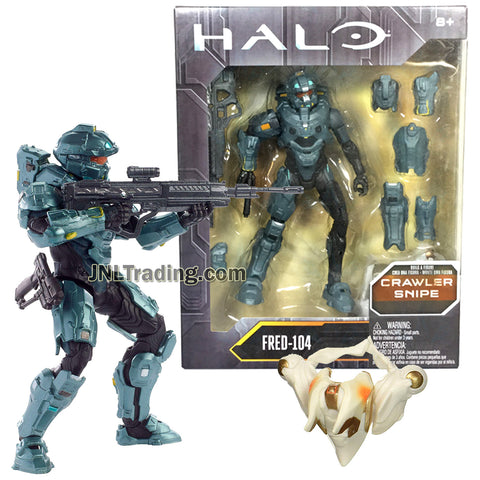 Year 2016 HALO Crawler Snipe Series 6 Inch Tall Figure : Spartan FRED-104 with Blaster Rifle and Body Armor