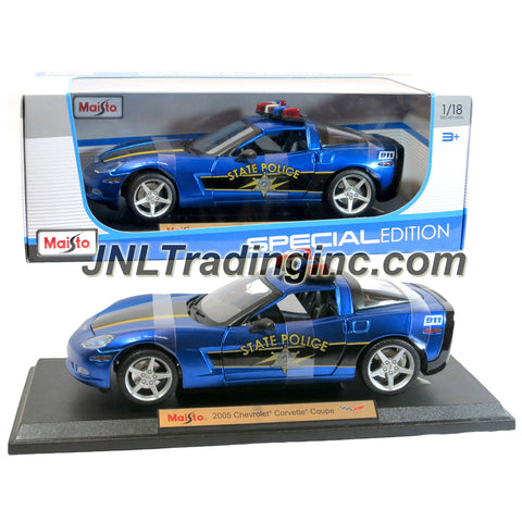 "Maisto Special Edition Series 1:18 Scale Die Cast Car -  Blue State Police Cruiser 2005 CHEVROLET CORVETTE COUPE with Base (Dim: 9"" x 4"" x 2-1/2"")"