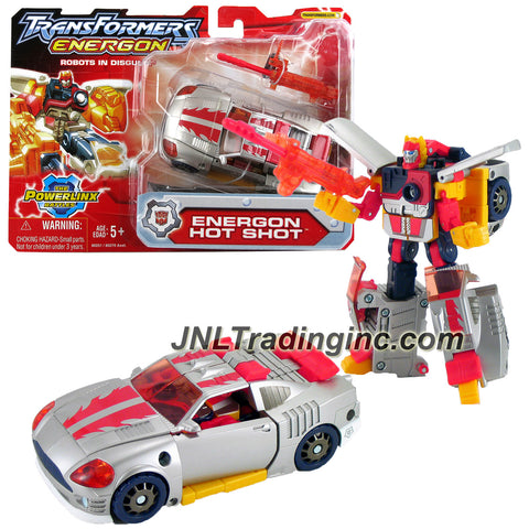 "Hasbro Year 2004 Transformers Energon ""The Powerlinx Battles"" Combiners Series 6 Inch Tall Robot Action Figure - Autobot ENERGON HOT SHOT with Grenade Rifle Missile Launcer, 1 Missile and Collector Card (Vehicle Mode: Sports Car)"