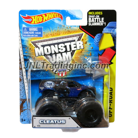 "Hot Wheels Year 2014 Monster Jam 1:64 Scale Die Cast Truck OFF-ROAD Series - CLEATUS (CFT49) with Snap-On Battle Slammer (Dimension : 3-1/2"" L x 2-1/4"" W x 2-1/2"" H)"