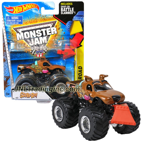 "Hot Wheels Year 2014 Monster Jam 1:64 Scale Die Cast Truck OFF-ROAD Series - SCOOBY-DOO (BGG77) with Snap-On Battle Slammer (Dimension: 3-1/2"" L x 2-1/4"" W x 2-1/2"" H)"