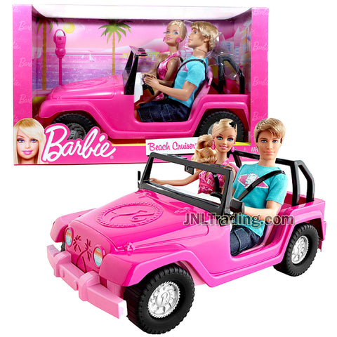 Year 2011 Barbie Fashionistas Series 12 Inch Doll Set -  BEACH CRUISER (V0834) with KEN in Blue Shirt and Blue Short Denim Plus BARBIE in Pink Dress