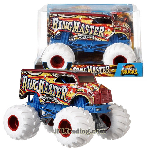"Product Features Die Cast Metal and Plastic Parts Realistic Details with Monster Tires,Working Suspension and 4 Wheel Steering 1:24 Scale (Dimension : 7"" L x 5-1/2"" W x 4-1/2"" H) Produced in year 2018 For age 3 and up Product Description Hot Wheels Year 2018 Monster Jam 1:24 Scale Die Cast Metal Body Official Truck - RING MASTER FYJ87 with Monster Tires, Working Suspension and 4 Wheel Steering"