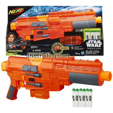 Nerf Year 2014 Star Wars Rogue One Series SERGEANT JYN ERSO Blaster with Lights and Sounds Plus Clip, Tactical Rail, Motorized Trigger and 6 Glowstrike Darts