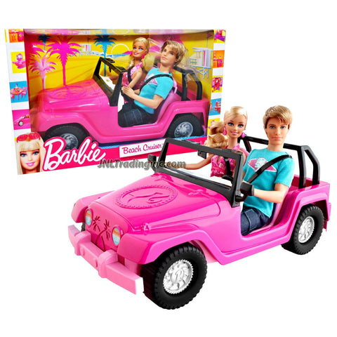 Mattel Year 2010 Barbie Fashionistas Beach Series 12 Inch Doll Vehicle Set -  BEACH CRUISER (V0834) with KEN in Blue Shirt and Blue Short Denim Plus BARBIE in Pink Neck Strap Dress