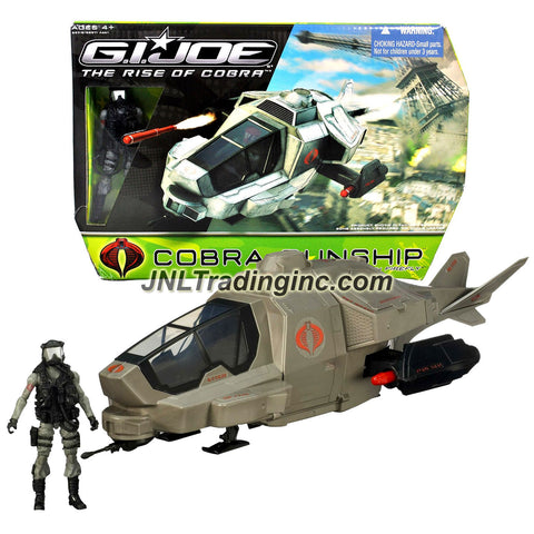 "Hasbro Year 2008 G.I. JOE Movie Series ""The Rise of Cobra"" Action Figure Vehicle Set - COBRA GUNSHIP with Opening Cockpit, Doors and Engine Panels; Rotating Nose Gun; Bombs Drop Feature and Firing Missiles Plus 4 Inch Tall FIREFLY Figure"