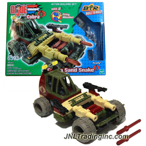 Hasbro Year 2003 GI JOE A Real American Hero vs Cobra Built to Rule BTR Series Action Vehicle Building Set #6593 - COBRA SAND SNAKE with 2 Firing Missiles and FIREFLY Figure