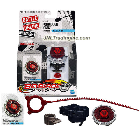 Hasbro Year 2012 Beyblade Metal Fury Performance Battle Tops - Balance ED145FB B-135 FORBIDDEN IONIS with Face Bolt, Ionis Energy Ring, Forbidden Fusion Wheel, ED145 Spin Track, FB Performance Tip and Ripcord Launcher Plus Online Code