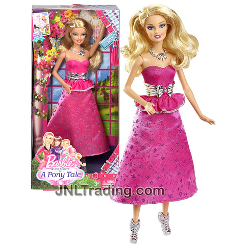 Mattel Year 2012 Movie Series Barbie and Her Sisters in A Pony Tale Series 12 Inch Doll - BARBIE (BBF93) in Pink Top and Pink Skirt with Necklace