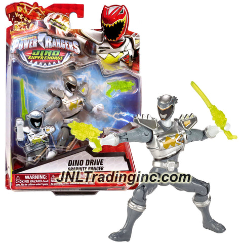 Bandai Year 2015 Saban's Power Rangers Dino Super Charge Series 5 Inch Tall Action Figure - Dino Drive GRAPHITE RANGER with Blaster and Sword