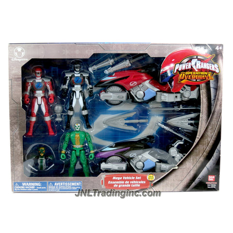 Bandai Year 2006 Power Rangers Operation Overdrive Series MEGA VEHICLE SET B with Red and Black Cycle with Missile Launcher and Missiles, Villain with Removable Armor Plus Red and Black Power Rangers