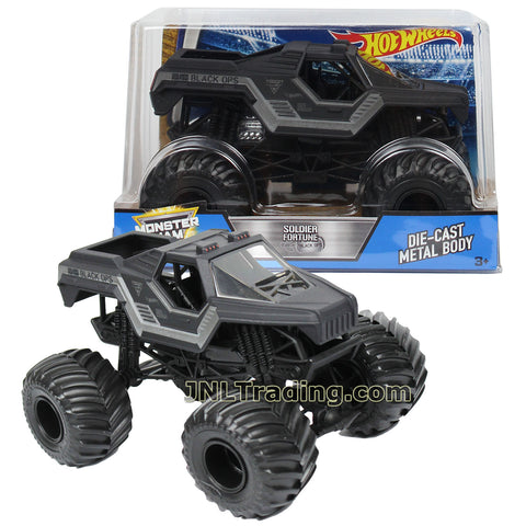 Hot Wheels Year 2017 Monster Jam 1:24 Scale Die Cast Metal Body Official Truck - SOLDIER FORTUNE BLACK OPS DWP11 with Monster Tires, Working Suspension and 4 Wheel Steering