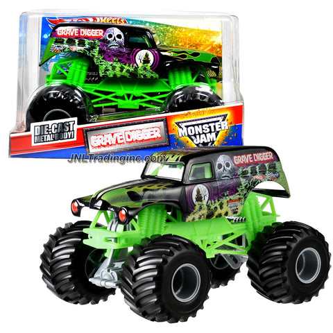 "Hot Wheels Year 2011 Monster Jam 1:24 Scale Die Cast Metal Body Official Monster Truck Series #W2450 - GRAVE DIGGER with Monster Tires, Working Suspension and 4 Wheel Steering (Dimension : 7"" L x 5-1/2"" W x 4-1/2"" H)"