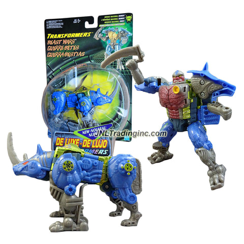 Hasbro Year 1999 Transformers Beast Wars Series Deluxe Class 6 Inch Tall Robot Action Figure - Heroic Maximal RHINOX with Horn Sword (Beast Mode: Rhino)