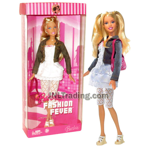 Year 2006 Barbie Fashion Fever Series 12 Inch Tall Doll - Smart, Stylish and Friendly BARBIE in White Layer Dress, Denim Jacket and Crochet Pants with Purse and Shoes